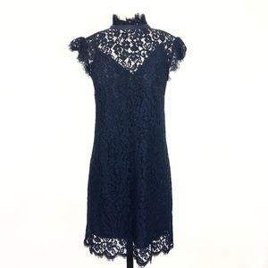 Rachel Zoe Navy Lace Cap Sleeve Sheath Dress